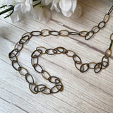 VERMEIL OXIDIZED STERLING SILVER TWISTED OVAL LINK CHAIN NECKLACE - PERSONA JEWELRY