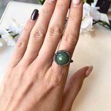 OXIDIZED STERLING SILVER ROUND FACETED GREEN AGATE SPHERE SPINNING RING - PERSONA JEWELRY