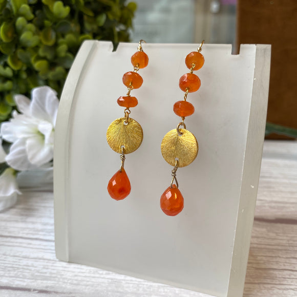 VERMEIL CARNELIAN BEAD DROP HOOK EARRINGS - PERSONA JEWELRY