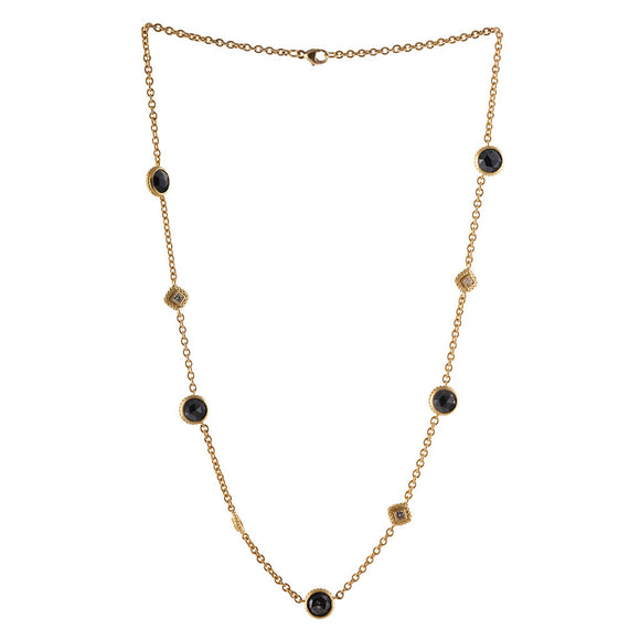 18K YELLOW GOLD BLACK & WHITE DIAMOND NECKLACE - PERSONA JEWELRY