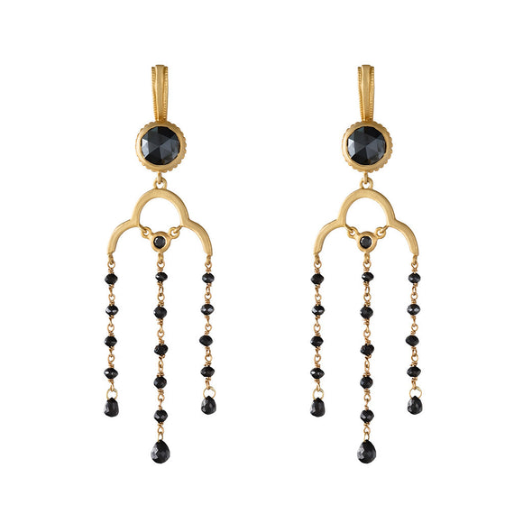 18K YELLOW GOLD 7.07 CARAT TOTAL WEIGHT BLACK DIAMOND CHANDELIER EARRINGS - PERSONA JEWELRY