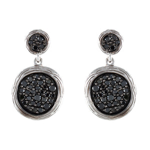 14K WHITE GOLD BLACK DIAMOND TEXTURED DISC EARRINGS - PERSONA JEWELRY