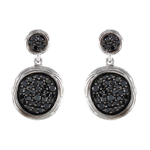 BLACK DIAMOND & WHITE GOLD TEXTURED DISC EARRINGS - PERSONA JEWELRY