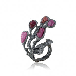 OXIDIZED STERLING SILVER 10.00 CTTW RAW RUBY BRANCH OPEN RING - PERSONA JEWELRY