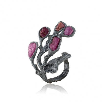RAW RUBY OXIDIZED SILVER BRANCH RING - PERSONA JEWELRY