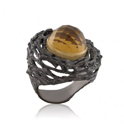 CITRINE OXIDIZED SILVER NESTING RING - PERSONA JEWELRY