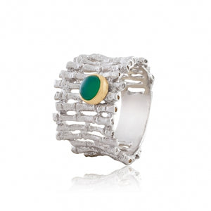 STERLING SILVER 0.55 CTTW GREEN AGATE FENCE RING - PERSONA JEWELRY