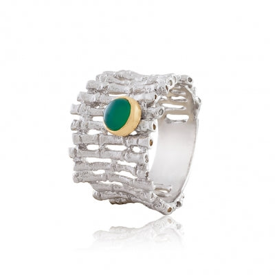 GREEN AGATE SILVER FENCE RING