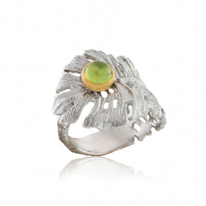 STERLING SILVER 0.55 CTW CHRYSOLITE PALM LEAF RING - PERSONA JEWELRY