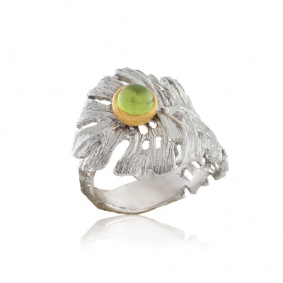 CHRYSOLITE SILVER PALM LEAF RING