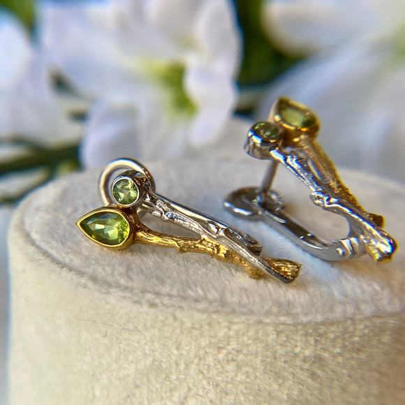 STERLING SILVER & VERMEIL 1.22 CTTW PERIDOT 2 BRANCH STYLE EARRINGS - PERSONA JEWELRY