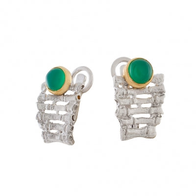 GREEN AGATE SILVER FENCE EARRINGS - PERSONA JEWELRY