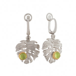 CHRYSOLITE SILVER PALM LEAF EARRINGS - PERSONA JEWELRY