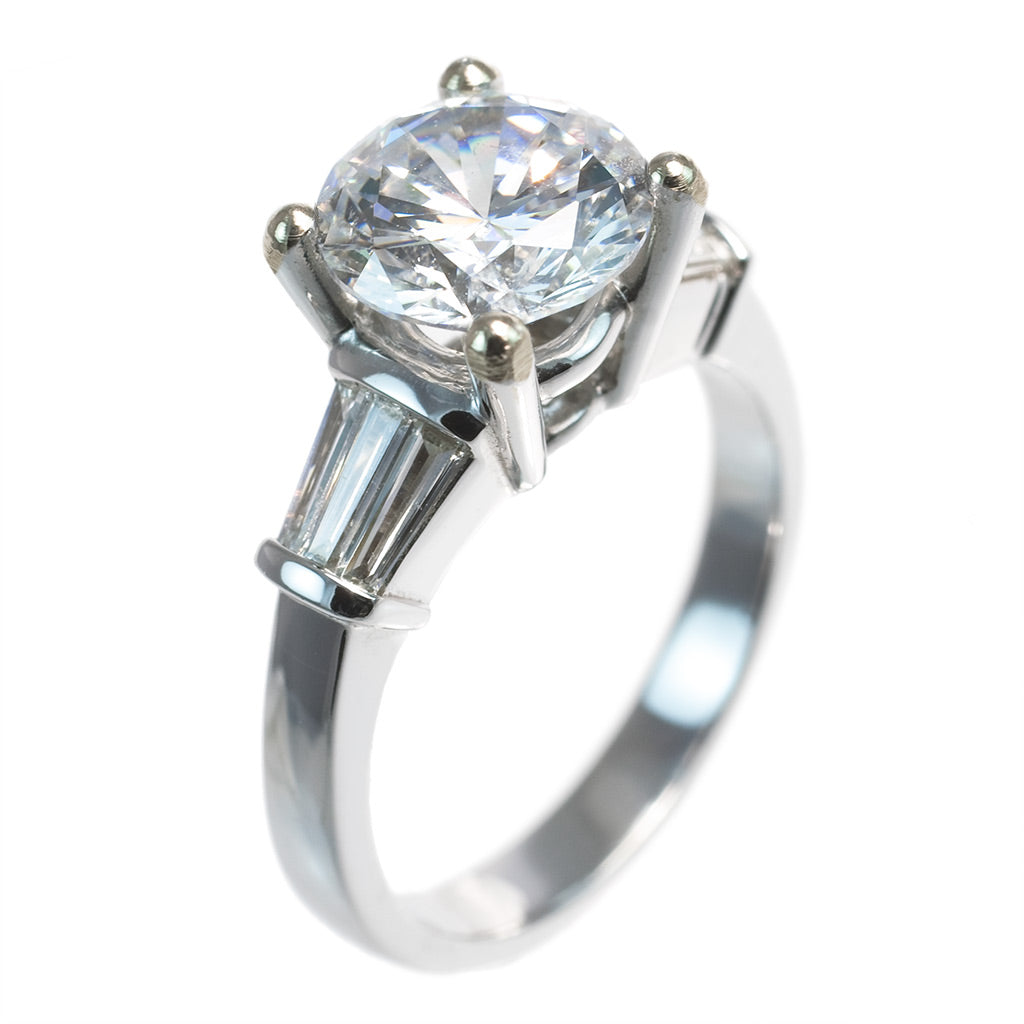 <b>BAGUETTE ENGAGEMENT RING</b><br>(CENTER STONE NOT INCLUDED)<br>by G.S. DESIGN