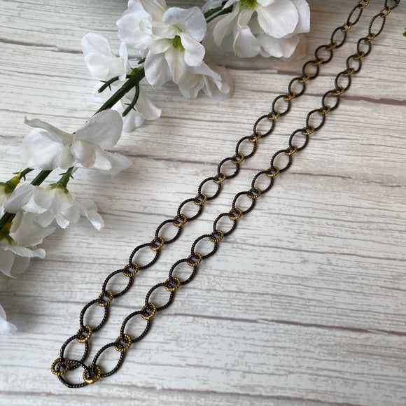 OXIDIZED STERLING SILVER & VERMEIL TWISTED ROUND LINK CHAIN NECKLACE - PERSONA JEWELRY