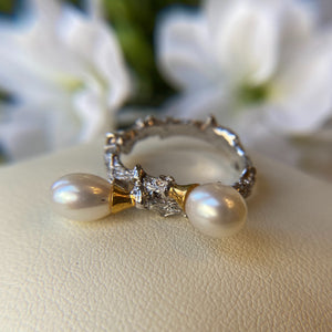 STERLING SILVER VERMEIL WHITE PEARL BRANCH STYLE RING - PERSONA JEWELRY