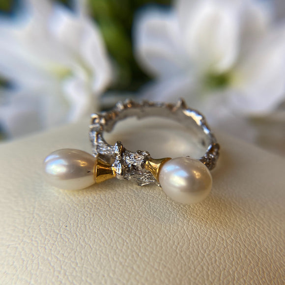 STERLING SILVER & VERMEIL WHITE PEARL BRANCH STYLE RING - PERSONA JEWELRY