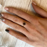 14K ROSE GOLD 0.98 CTW CUSHION CUT SMOKY QUARTZ 0.10 CTTW DIAMOND HALO RING - PERSONA JEWELRY