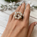 OXIDIZED STERLING SILVER 10- PEARL BOUQUET RING - PERSONA JEWELRY