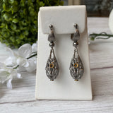 VERMEIL STERLING SILVER BLACK SPINEL PEAR SHAPE CAGE DANGLE EARRINGS - PERSONA JEWELRY