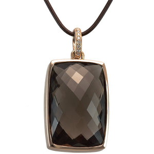 14K ROSE GOLD SMOKEY QUARTZ AND DIAMOND PENDANT - PERSONA JEWELRY