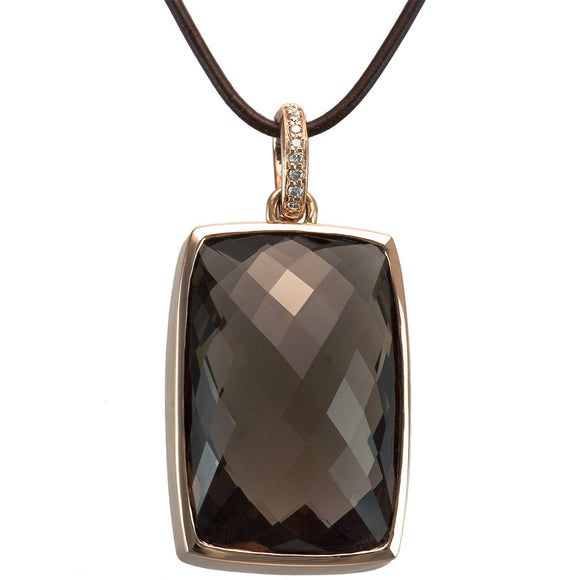 14K ROSE GOLD 60.00 CTW SMOKY QUARTZ AND DIAMOND PENDANT - PERSONA JEWELRY