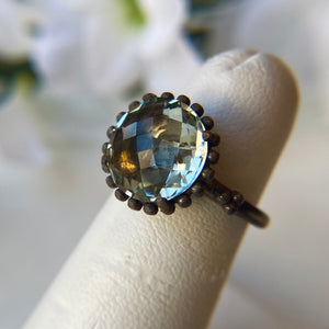 STERLING SILVER OXIDIZED 4.00 CTW ROUND CHECKERBOARD GREEN AMETHYST RING - PERSONA JEWELRY
