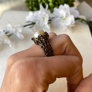 STERLING SILVER OXIDIZED 11.5 MM PEARL BRANCH STYLE BEADED RING - PERSONA JEWELRY