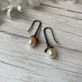 OXIDIZED STERLING SILVER OVAL PEARL HOOK EARRINGS - PERSONA JEWELRY