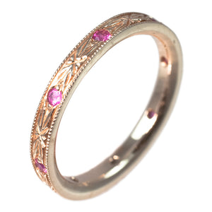 18K ROSE GOLD PINK SAPPHIRE BAND - PERSONA JEWELRY
