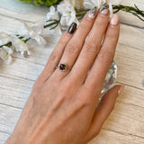 14K WHITE GOLD 1.11 CTW FACETED SMOKY QUARTZ IN 0.10 CTTW DIAMOND HALO RING - PERSONA JEWELRY