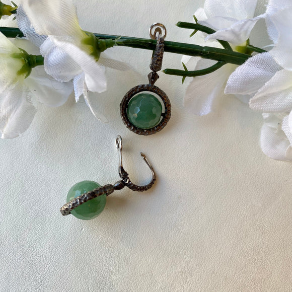 OXIDIZED STERLING SILVER ROUND FACETED GREEN AGATE SPHERE SPINNING DANGLE EARRINGS - PERSONA JEWELRY