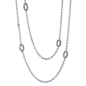 18K WHITE GOLD AND DIAMOND OVAL LINK NECKLACE - PERSONA JEWELRY