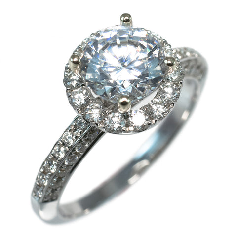 <b>THREE-SIDED SHANK HALO SETTING</b><br>(Center Stone Not Included)<br>by PERSONA - PERSONA JEWELRY