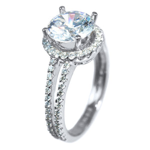 SPLIT SHOULDER DOUBLE-ROW HALO SETTING(Center Stone Not Included) - PERSONA JEWELRY