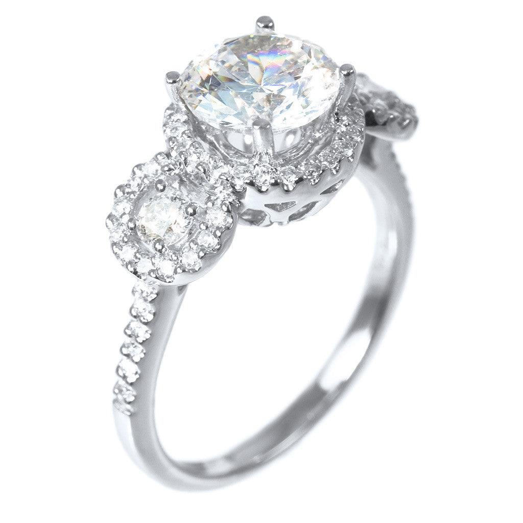 <b>THREE STONE HALO RING SETTING</b><br>(Center Stone Not Included)<br>by PERSONA