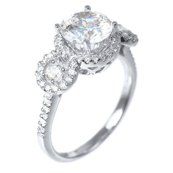 THREE STONE HALO RING SETTING (Center Stone Not Included) - PERSONA JEWELRY