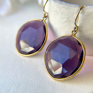 VERMEIL SLICED FACETED AMETHYST HOOK EARRINGS - PERSONA JEWELRY
