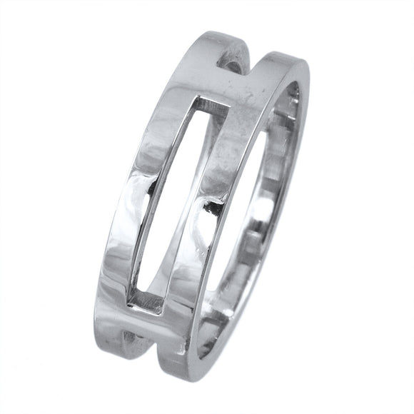PLATINUM OPEN MIDDLE POLISHED BAND - PERSONA JEWELRY