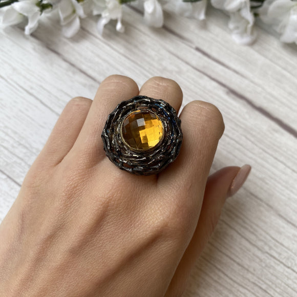 OXIDIZED STERLING SILVER 13.6 CT CHECKER BOARD CITRINE NEST RING - PERSONA JEWELRY