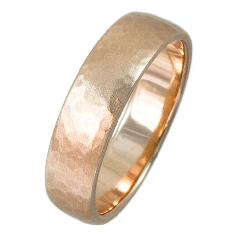 14K ROSE GOLD HAMMERED SATIN FINISH BAND - PERSONA JEWELRY