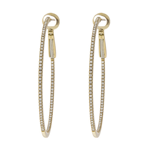 "<b>INSIDE-OUT DIAMOND HOOP EARRINGS 1.25""</b><br>by PERSONA"