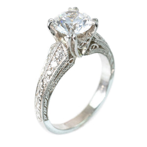 THREE-SIDED FILIGREE SHANK ENGAGEMENT RING SETTING (CENTER STONE NOT INCLUDED) - PERSONA JEWELRY