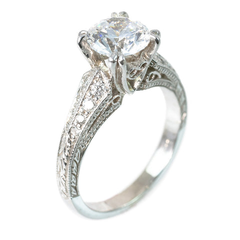 <b>WHITE GOLD ENGAGEMENT RING</b><br>(CENTER STONE NOT INCLUDED)<br>by G.S. DESIGN