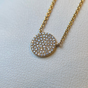 14K YELLOW GOLD 0.20 CTTW DIAMOND DISK NECKLACE 9MM IN DIAMETER - PERSONA JEWELRY
