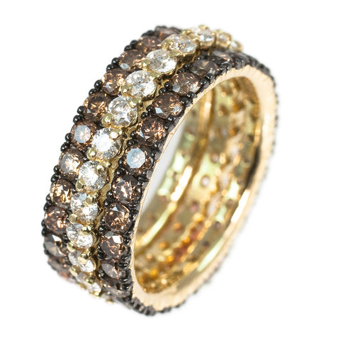 <b>OXIDIZED YELLOW GOLD AND DIAMONDS BAND SET </b><br>by G.S. DESIGN