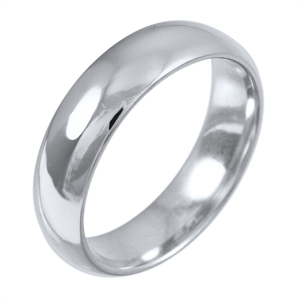 <b> WHITE GOLD HALF-ROUND HIGH POLISHED BAND</b><br>by G.S. DESIGN
