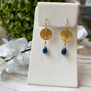 VERMEIL SAPPHIRE BRIOLETTE DROP HOOK EARRINGS - PERSONA JEWELRY