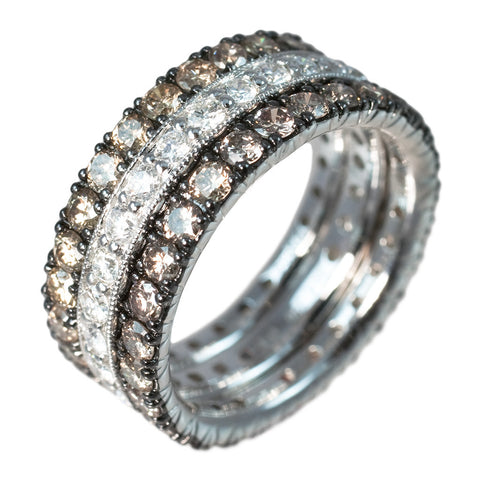 <b> OXIDIZED WHITE GOLD AND DIAMONDS BAND SET </b><br>by G.S. DESIGN