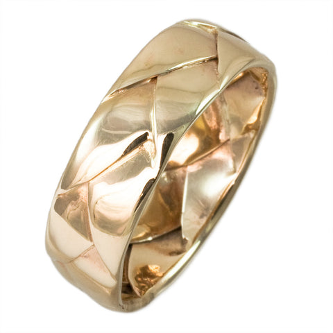 14K YELLOW GOLD BRAIDED HANDWOVEN BAND - PERSONA JEWELRY